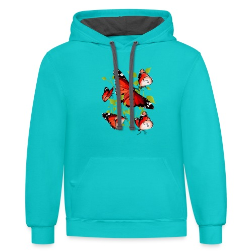 BRIGHT ORANGE BUTTERFLY - Contrast Hoodie