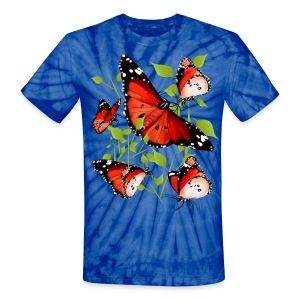 BRIGHT ORANGE BUTTERFLY - Unisex Tie Dye T-Shirt