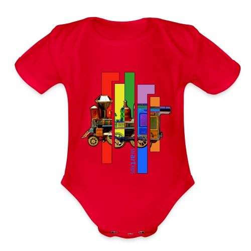 SMARTKIDS - COCO LOCOMOFO - front print - 0/12 months - multi colors - Organic Short Sleeve Baby Bodysuit
