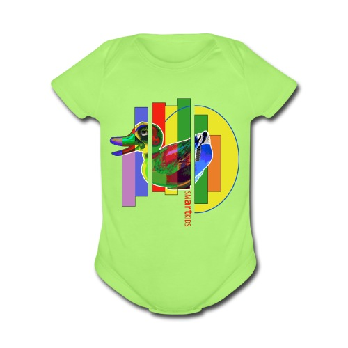 SMARTKIDS - GUTSY DUCK - front print - 0/12 months - multi colors - Organic Short Sleeve Baby Bodysuit