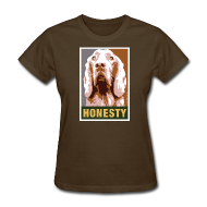 Women's T-Shirts ~ Women's T-Shirt ~ Dogs Against Romney Limited Edition HONESTY by DEVO's Gerald Casale