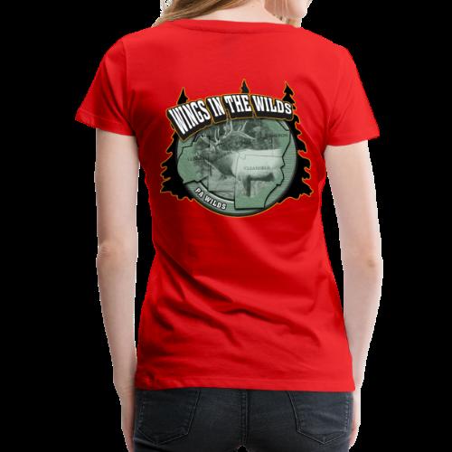Women's Premium T- w/back & chest logo (Black Glitz) - Women's Premium T-Shirt