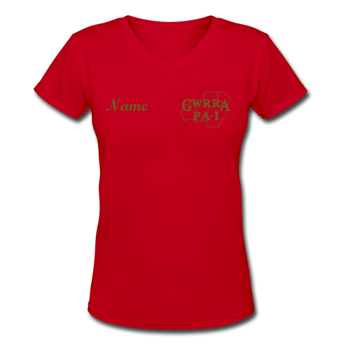 Women's V-Neck T- w/back & chest logo, name (Gold Glitz) - Women's V-Neck T-Shirt