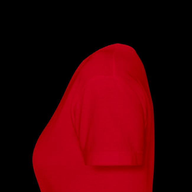 Women's V-Neck T- w/back & chest logo, name (Gold Glitz)