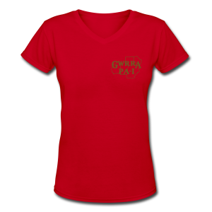 Women's V-Neck T- w/back & chest logo, no name (Gold Glitz) - Women's V-Neck T-Shirt