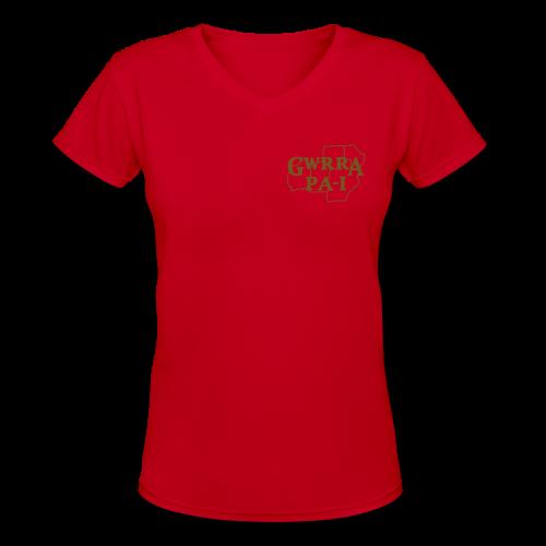 Women's V-Neck T- w/back & chest logo, no name (Gold Glitz) - Women's V-Neck T-Shirt