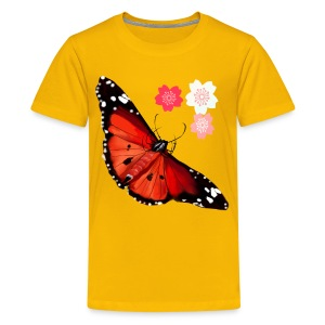 HOT BIG BRIGHT BUTTERFLY and Cherry Blossoms - Kids' Premium T-Shirt