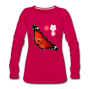 HOT BIG BRIGHT BUTTERFLY and Cherry Blossoms - Women's Premium Long Sleeve T-Shirt