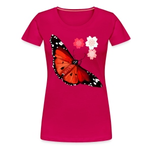 HOT BIG BRIGHT BUTTERFLY and Cherry Blossoms - Women's Premium T-Shirt
