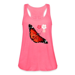 HOT BIG BRIGHT BUTTERFLY and Cherry Blossoms - Women's Flowy Tank Top by Bella