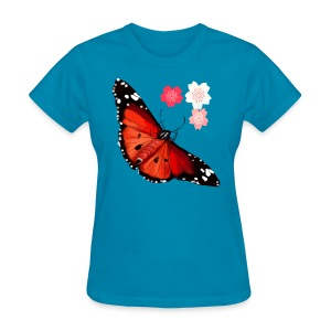 HOT BIG BRIGHT BUTTERFLY and Cherry Blossoms - Women's T-Shirt