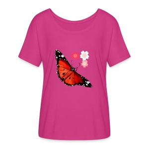 HOT BIG BRIGHT BUTTERFLY and Cherry Blossoms - Women's Flowy T-Shirt