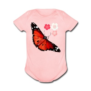HOT BIG BRIGHT BUTTERFLY and Cherry Blossoms - Short Sleeve Baby Bodysuit