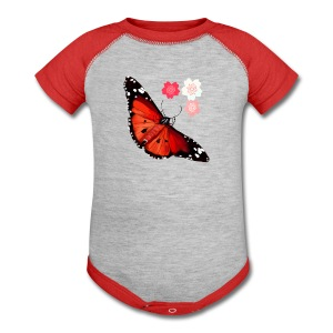 HOT BIG BRIGHT BUTTERFLY and Cherry Blossoms - Baby Contrast One Piece