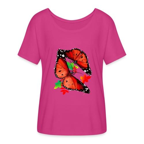 TWO BIG BRIGHT ORANGE BUTTERFLIES - Women's Flowy T-Shirt