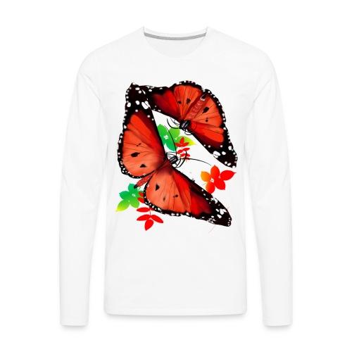 TWO BIG BRIGHT ORANGE BUTTERFLIES - Men's Premium Long Sleeve T-Shirt