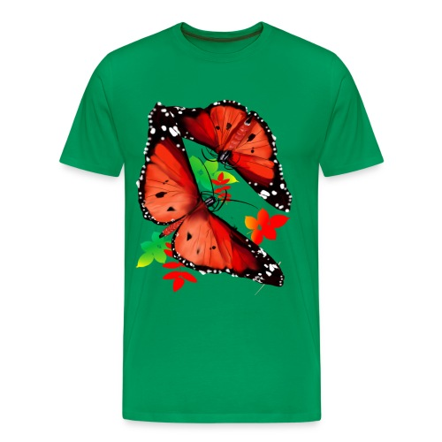 TWO BIG BRIGHT ORANGE BUTTERFLIES - Men's Premium T-Shirt