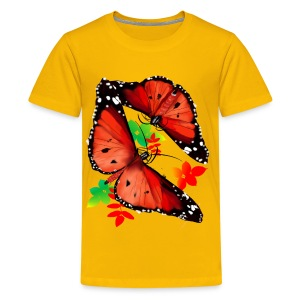 TWO BIG BRIGHT ORANGE BUTTERFLIES - Kids' Premium T-Shirt