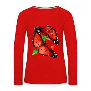 TWO BIG BRIGHT ORANGE BUTTERFLIES - Women's Premium Long Sleeve T-Shirt