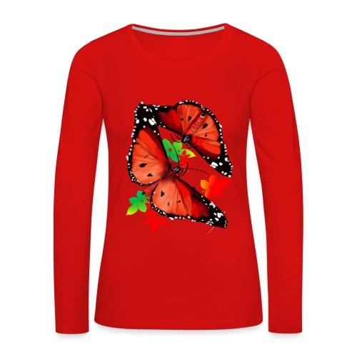 TWO BIG BRIGHT ORANGE BUTTERFLIES - Women's Premium Long Sleeve T-Shirt