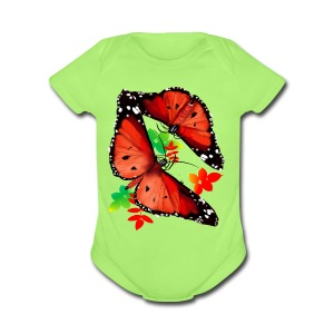 TWO BIG BRIGHT ORANGE BUTTERFLIES - Short Sleeve Baby Bodysuit