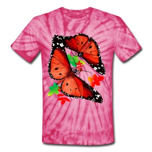 HOT BIG BRIGHT BUTTERFLY and Cherry Blossoms - Unisex Tie Dye T-Shirt