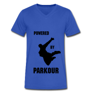 T-Shirts ~ Men's V-Neck T-Shirt by Canvas ~ POWERED BY PARKOUR V-NECK