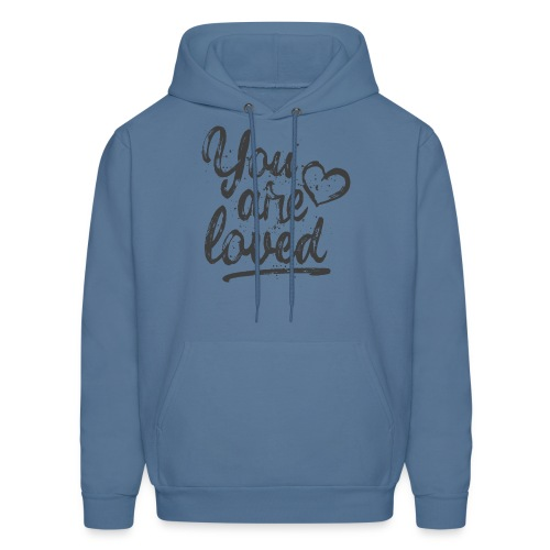 You are loved - cool quote, fancy lettering with heart - Men's Hoodie