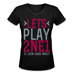 [2NE1] Let's Play 2NE1 - Women's V-Neck T-Shirt