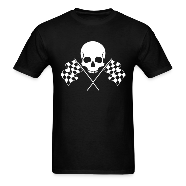 Skull Checkered Flags T-Shirts