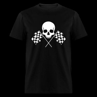 Skull Checkered Flags T-Shirts