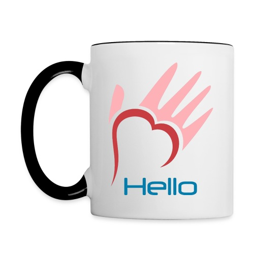 White and pink mug with logo and mission statement - Contrast Coffee Mug