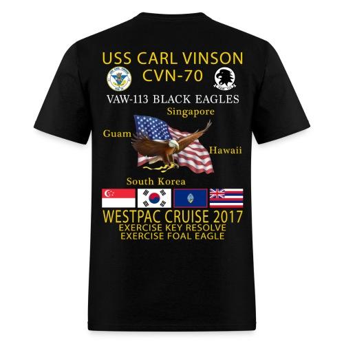 USS CARL VINSON CVN-70 w/ VAW-113 WESTPAC 2017 CRUISE SHIRT - Men's T-Shirt