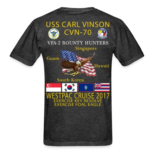 USS CARL VINSON CVN-70 w/ VFA-2 WESTPAC 2017 CRUISE SHIRT - Men's T-Shirt