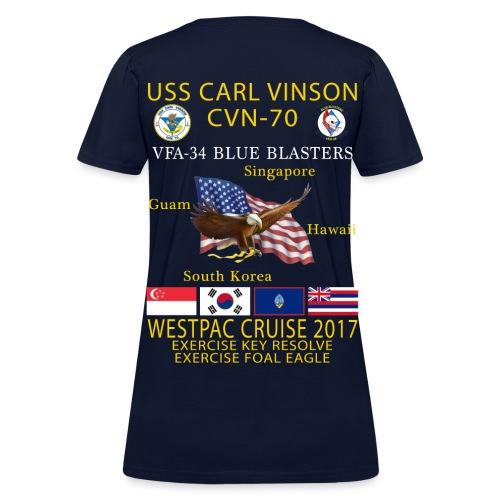 USS CARL VINSON CVN-70 w/ VFA-34  WESTPAC 2017 CRUISE SHIRT - WOMEN'S - Women's T-Shirt