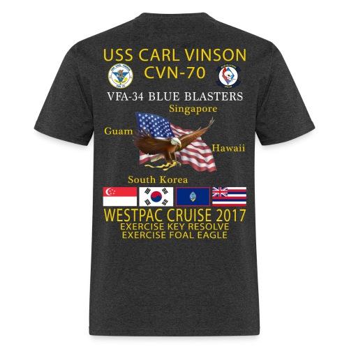 USS CARL VINSON CVN-70 w/ VFA-34  WESTPAC 2017 CRUISE SHIRT - Men's T-Shirt