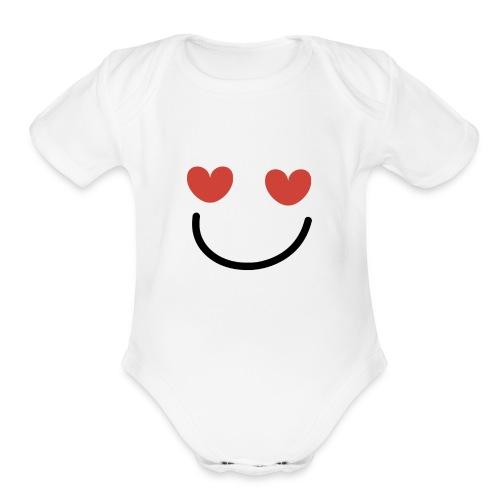 EYE LUV UR SMILE - Organic Short Sleeve Baby Bodysuit