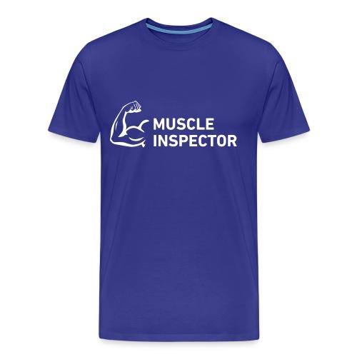 Men's Shirt - White on Blue - Muscle Inspector - Men's Premium T-Shirt