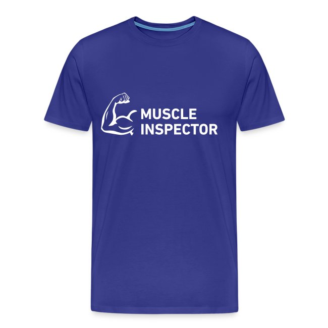 Men's Shirt - White on Blue - Muscle Inspector