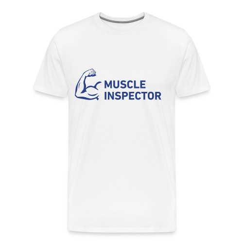 Men's Shirt - Blue on White - Muscle Inspector - Men's Premium T-Shirt