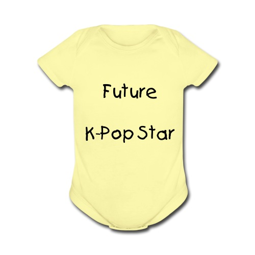 Future Kpop star (yellow) - Organic Short Sleeve Baby Bodysuit