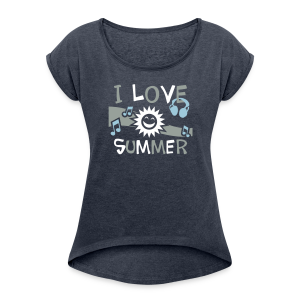 I Love Summer Flowing Tank Top - Women's Roll Cuff T-Shirt