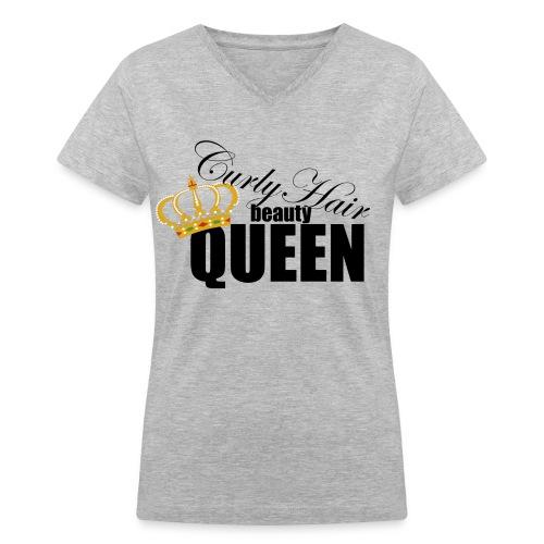 Curly Queen - Women's V-Neck T-Shirt