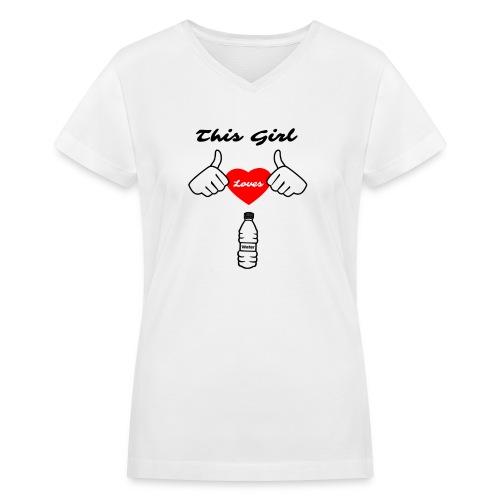This Girl Loves Water T-Shirt - Women's V-Neck T-Shirt