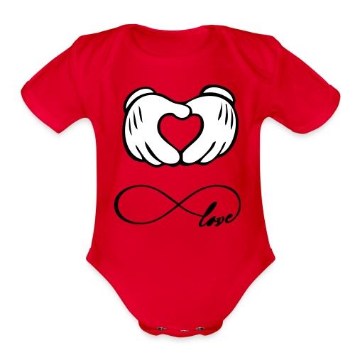 mickey's love - Organic Short Sleeve Baby Bodysuit