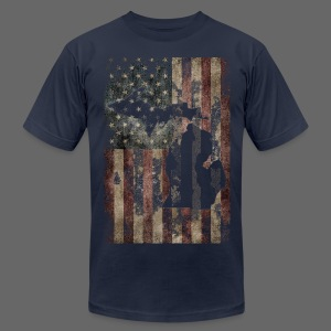 Michigan - USA Flag - Men's T-Shirt by American Apparel