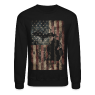 Long Sleeve Shirts ~ Crewneck Sweatshirt ~ Michigan - USA Flag