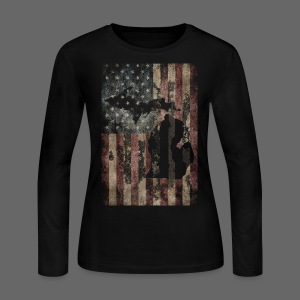 Michigan - USA Flag - Women's Long Sleeve Jersey T-Shirt