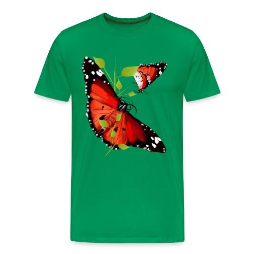 TWO BRIGHT ORANGE BUTTERFLIES - Men's Premium T-Shirt