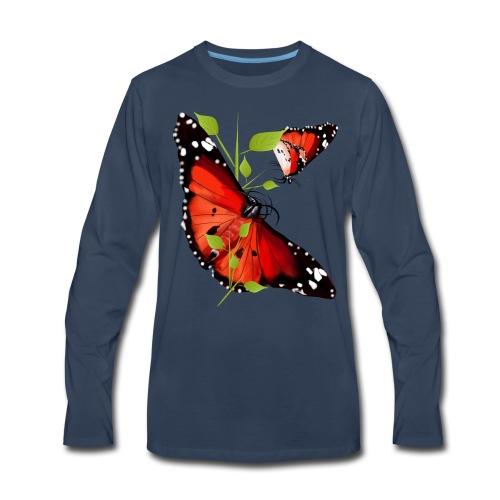 TWO  BRIGHT ORANGE BUTTERFLIES - Men's Premium Long Sleeve T-Shirt